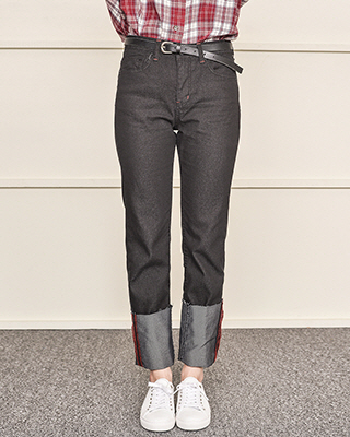 Roll-up straight pants