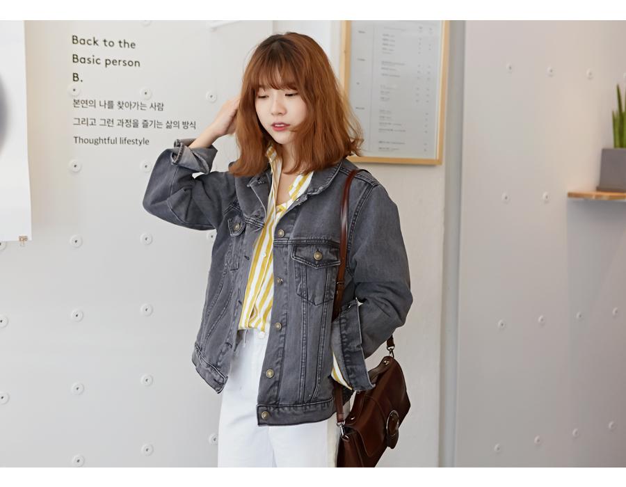 Daily crop denim jacket_S (size : free)