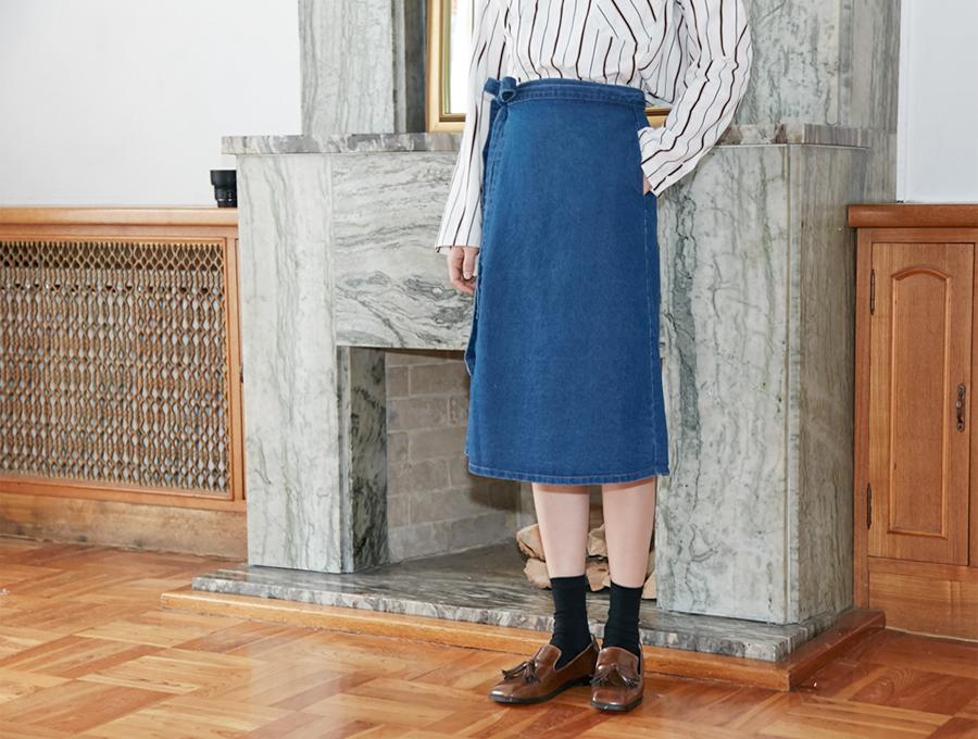 Denim wrap midi skirt_H (size : free)