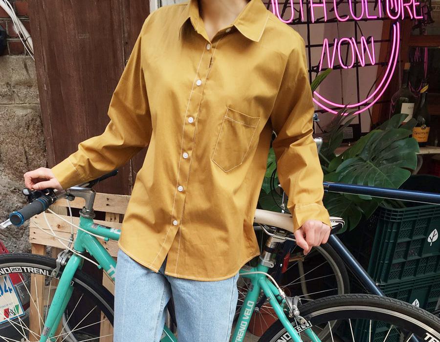 Object stitch cotton shirts_M (size : free)