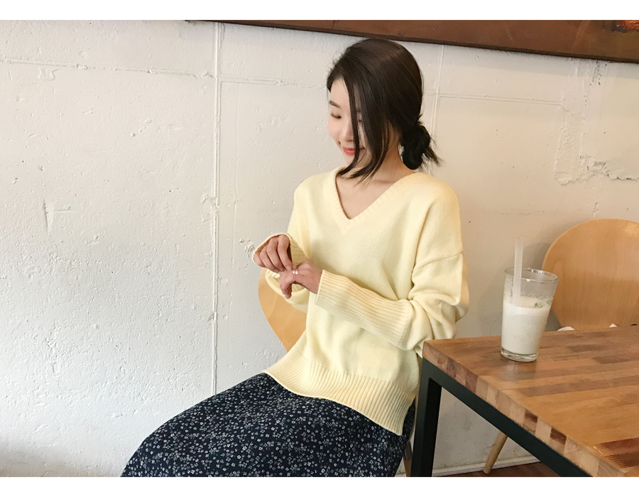 Peach soft V-neck knit_S (size : free)