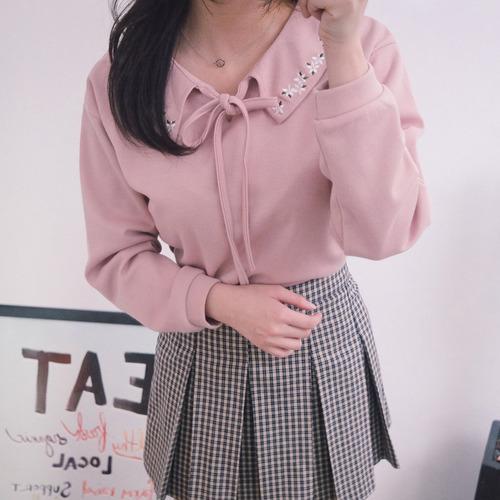 화이트 꽃 카라 티 (t2499)