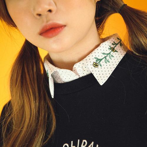 도트 꽃줄 자수 셔츠 (nb181)
