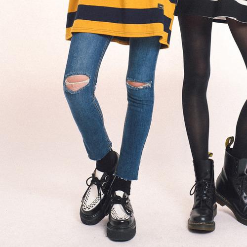 양쪽 무릎 헤짐 스키니진 (pt611)