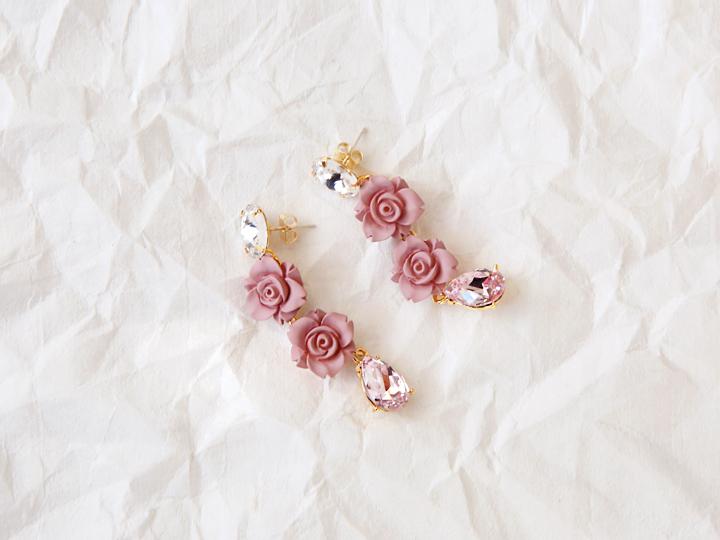 PINK FLOWER CUBIC EARRING