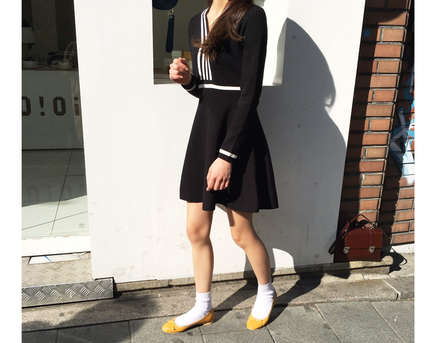 Sailor flare knit ops_M (size : free)