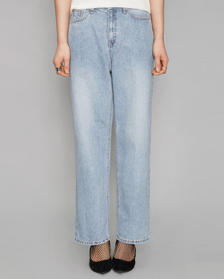 wide fit long light blue denim pants