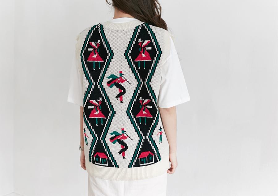 Vintage made knit vest_H (size : free)