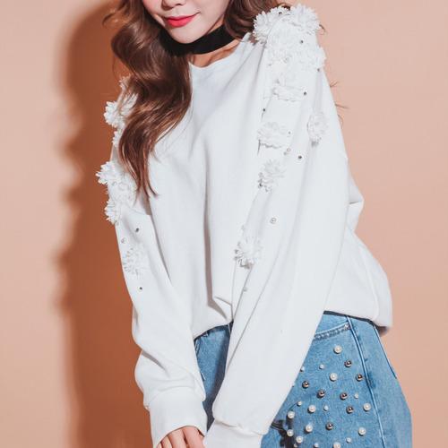 숄더 꽃진주 맨투맨 (t2448)