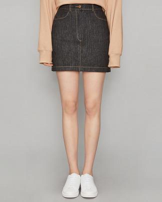 small slit black denim skirt