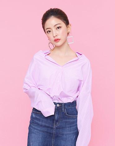 V-neck stripe boxy shirts
