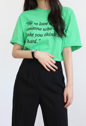 Neon lettering tee (3color)