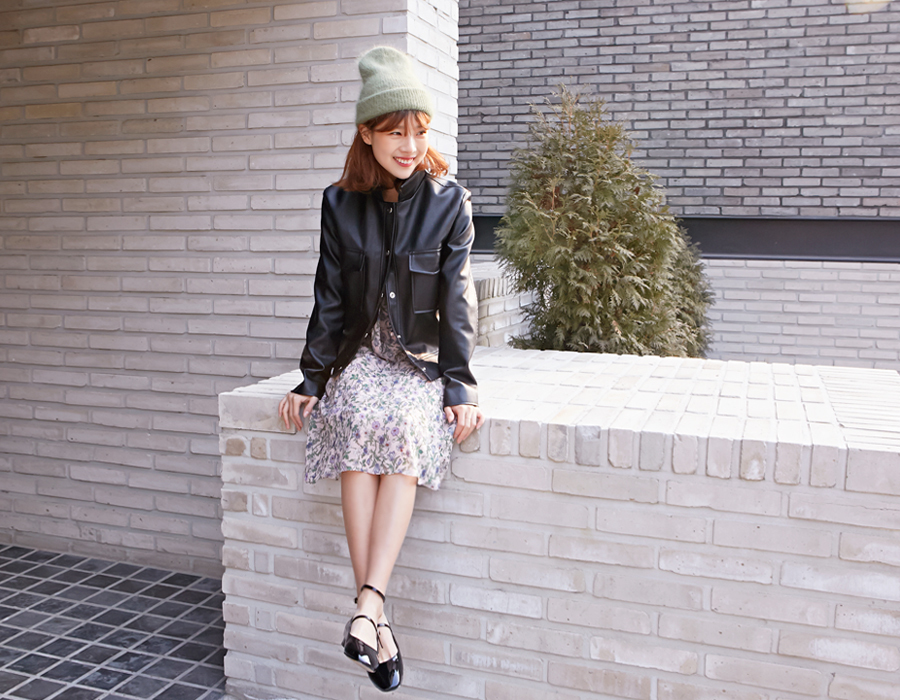 Formal leather button jacket_S (size : free)