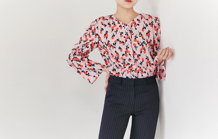 Peach puff V blouse_H (size : free)