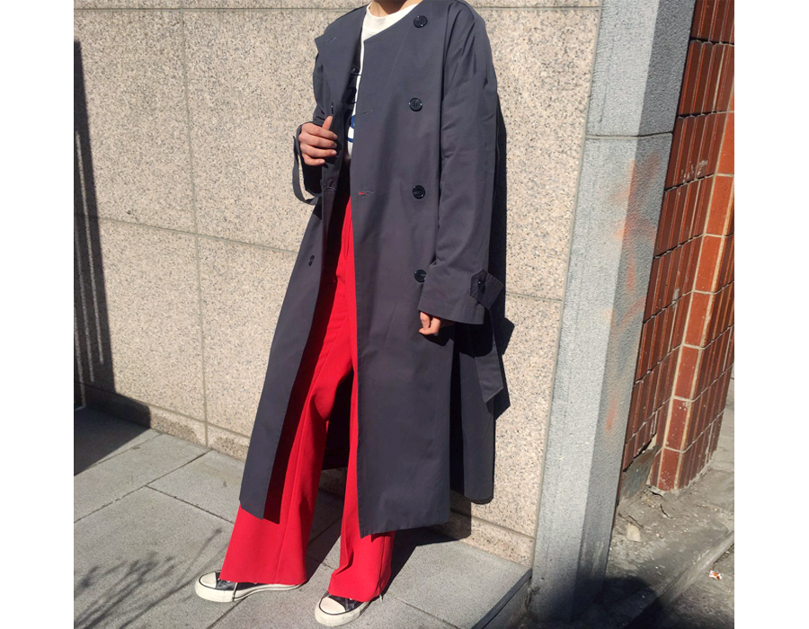 Paper round trench coat_S (size : free)