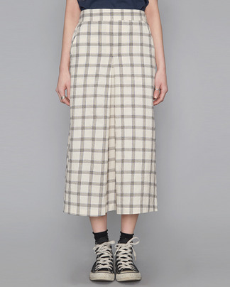 front wrinkle check long skirt (2 colors)