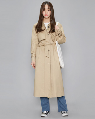 cape detail single trench coat (2 colors)