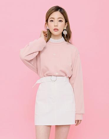 Circle belt cotton skirt