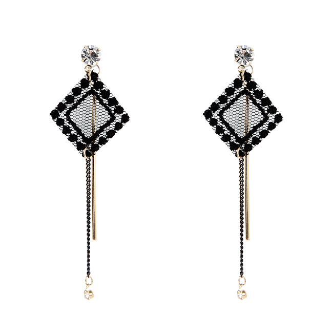 Square lace drop earring