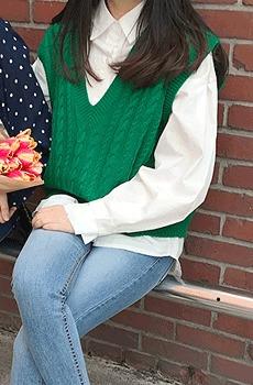 Screw-니트조끼 (울20%)