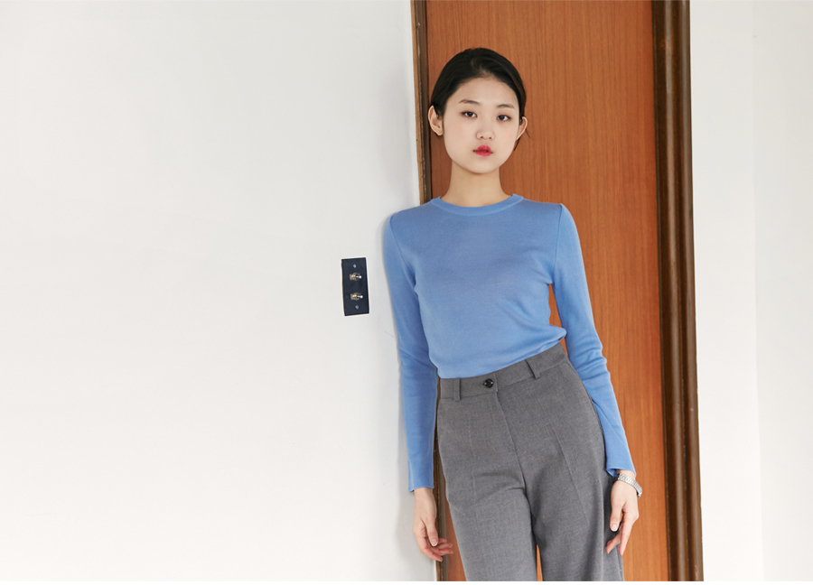 Add color round knit_B (size : free)