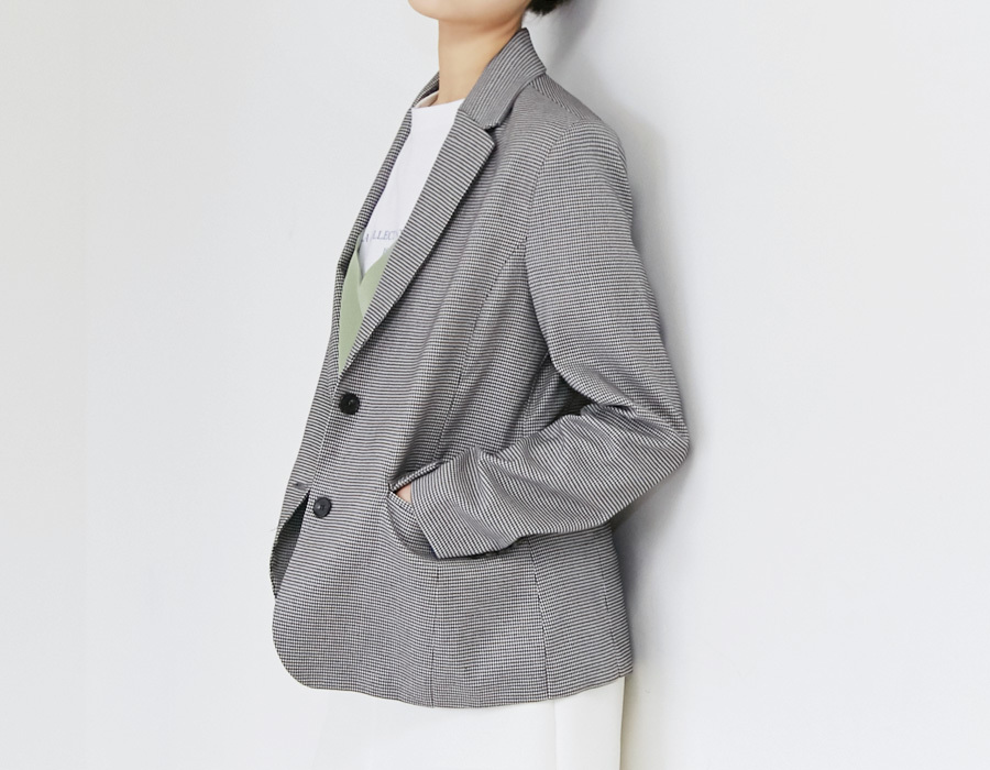 Sander check tailored jacket_M (size : free)