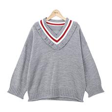 Frill line v-neck knit