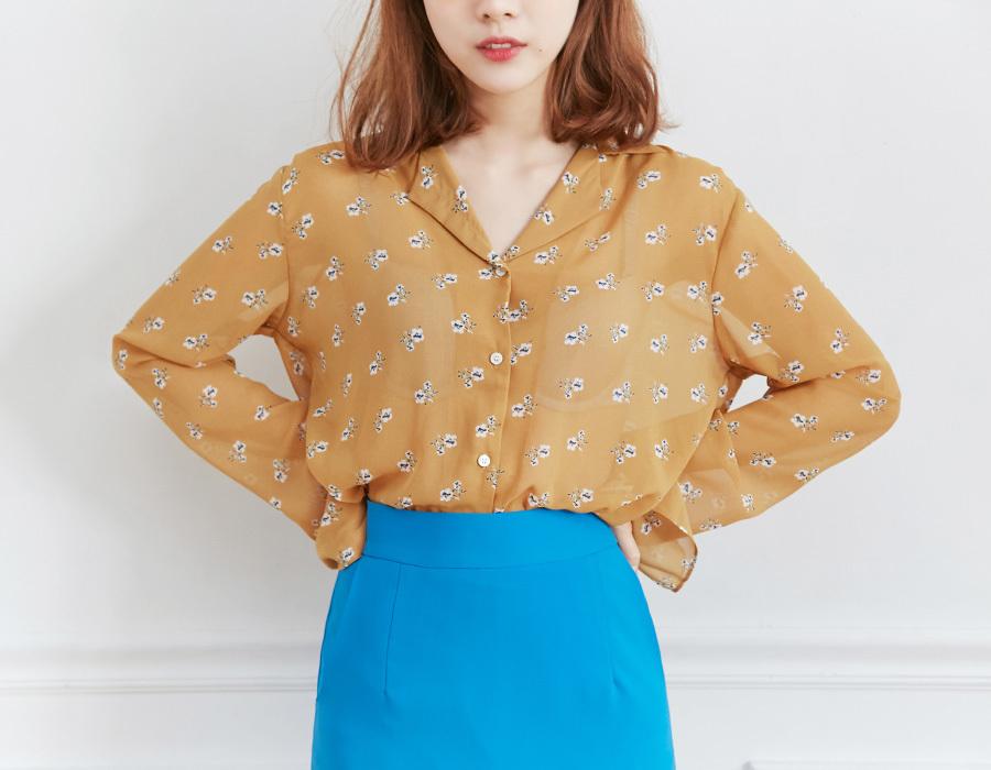 Take flower sheer blouse_M (size : free)