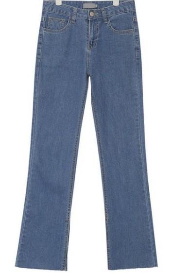inside slit straight fit denim pants