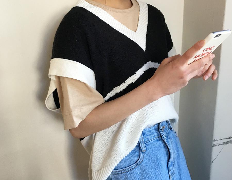 Mountain coloring knit vest_K(size : free)