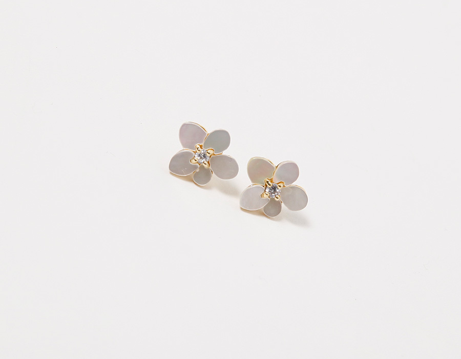 Petit flower gold earring_K (size : one)