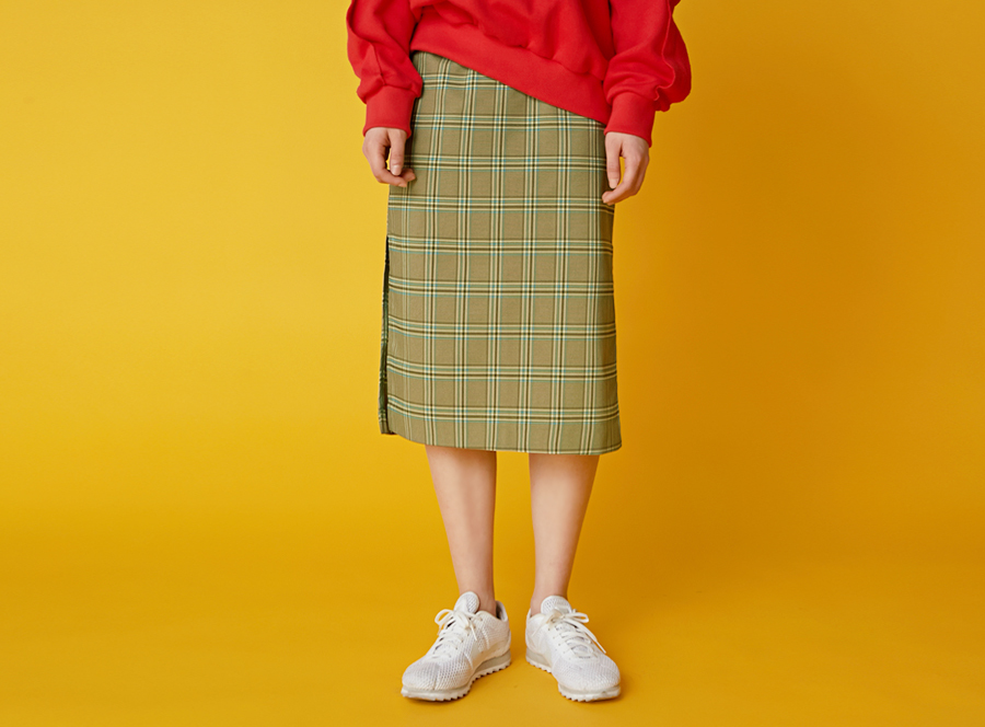 Campus check slit skirt_H (size : S,M)