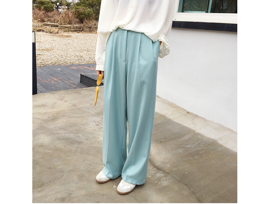 Made_bottom-096_string wide trousers (size : free)