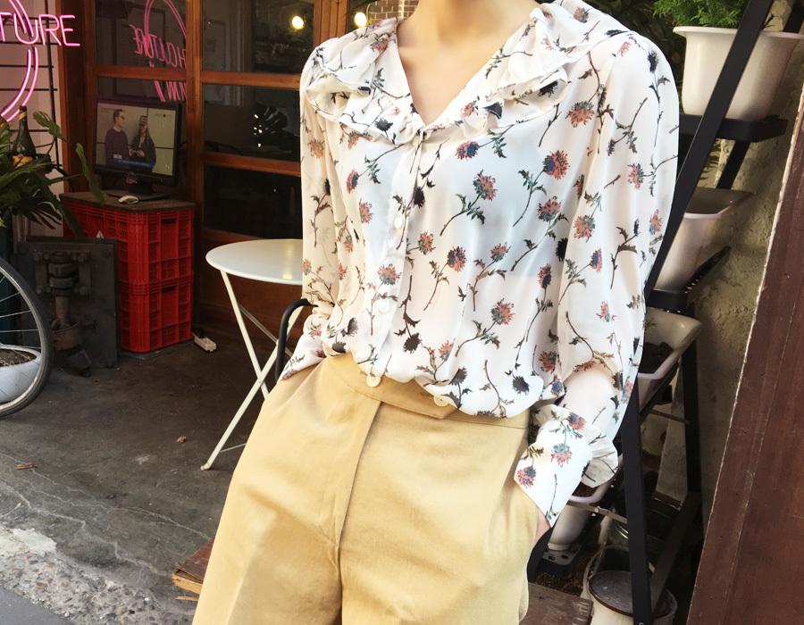 Plan shiffon frill blouse_M (size : free)