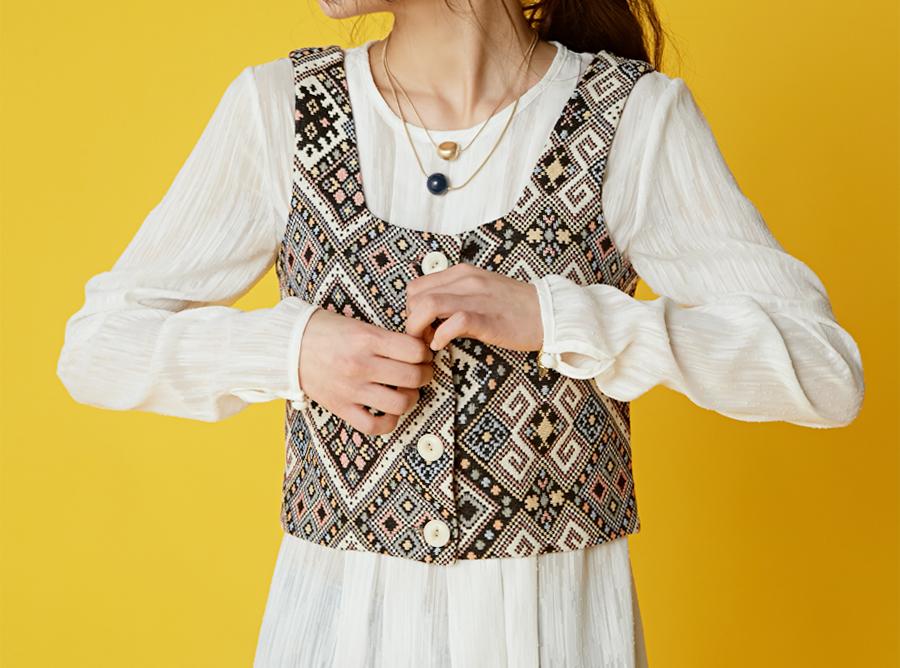 Vivid ethnic waistcoat_H (size : free)