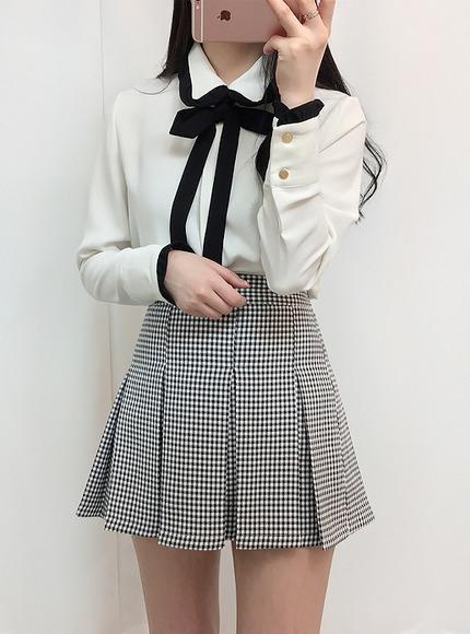 소녀 리본 블라우스(2color)