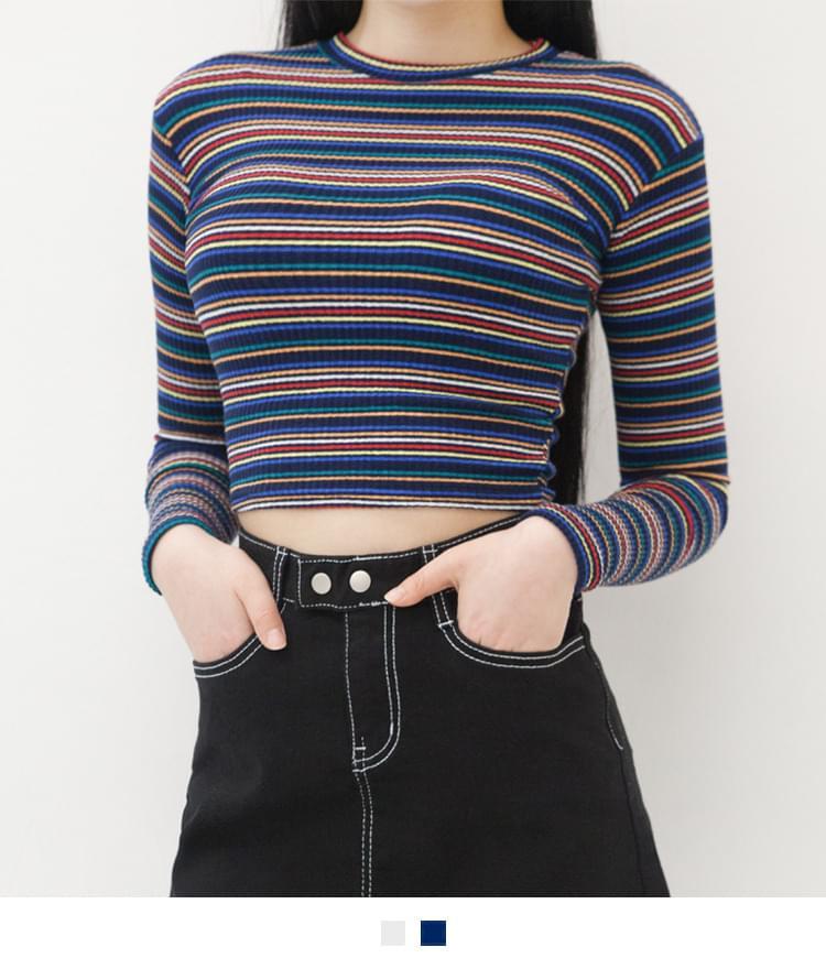 사나 컬러 크롭 티셔츠