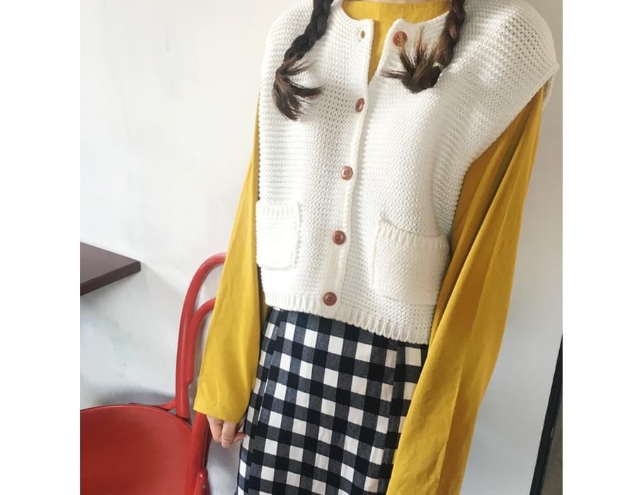 Treasure pocket knit vest_H (size : free)