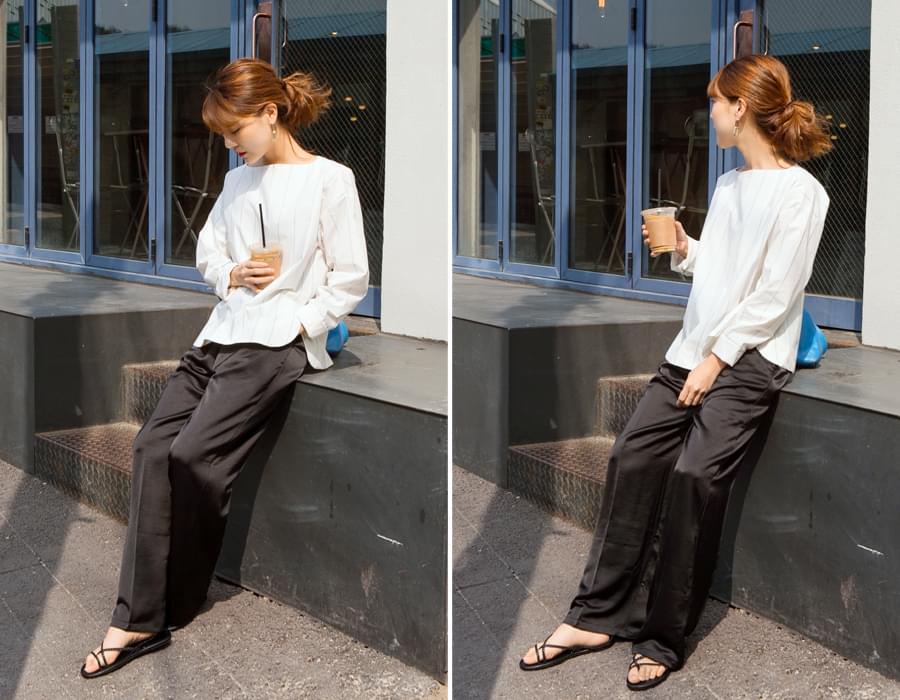 Dress satin wide pants_S (size : free)
