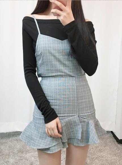 Check busty two-piece set