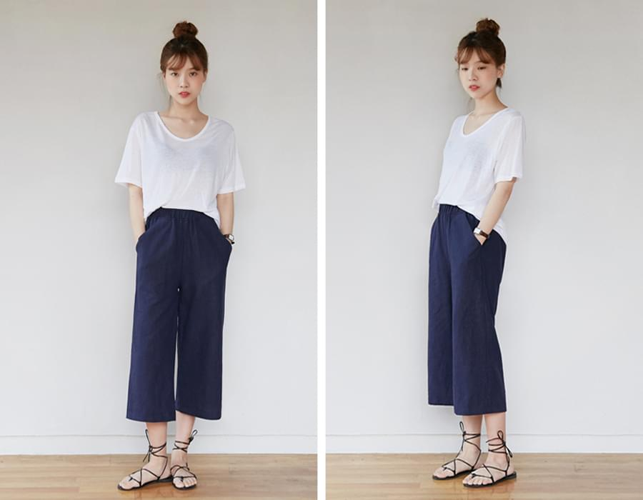 Nature linen crop pants_H (size : free)