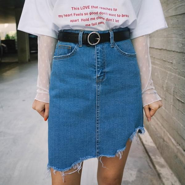 Uncut Cutting Denim Skirt