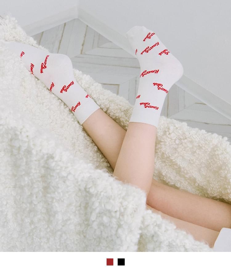 Heart Logo Pattern Socks