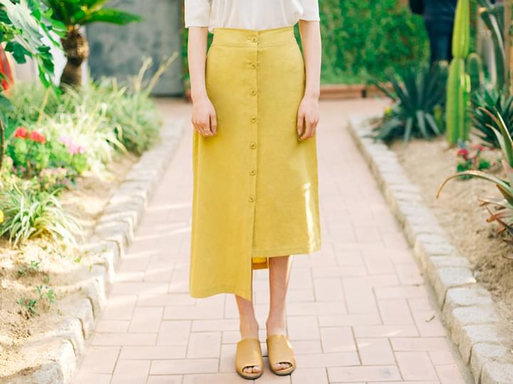 UNBAL BUTTON LONG SKIRT