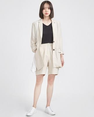 herringbone linen jacket (2 colors)