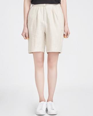herringbone linen banding half pants (2 colors)