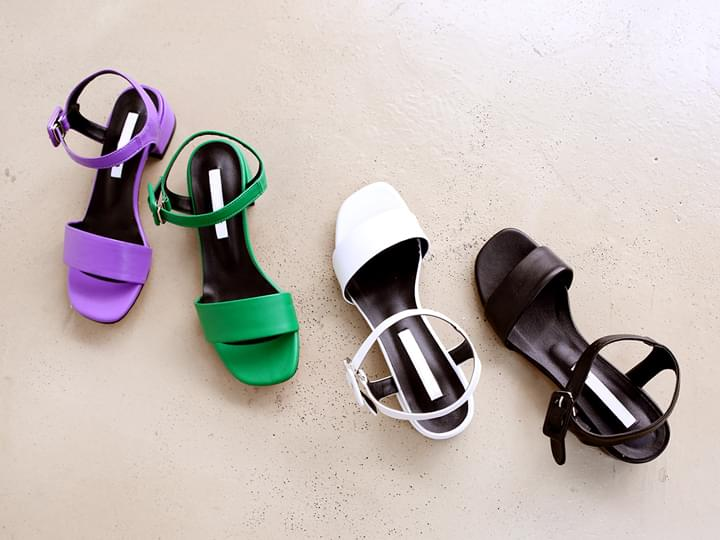 VIVID STRAP MIDDLE HEEL SHOES