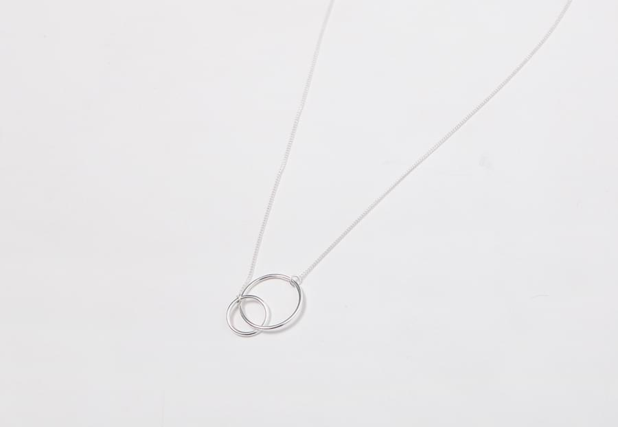 Real silver circle necklace_H (size : one)