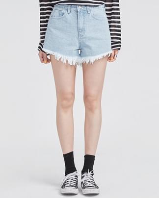 fringe point lightblue denim short pants