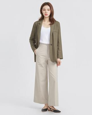 one button casual linen jacket (4 colors)